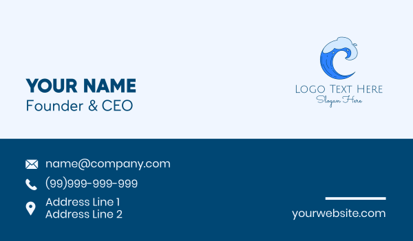 beach resort - Blue Surfing Wave Business card horizontal design