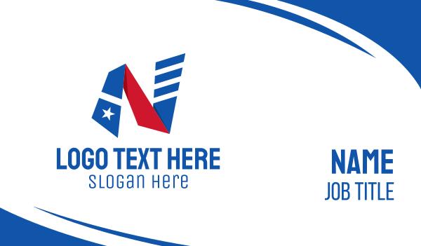 state - Striped Flag Letter N Business card horizontal design