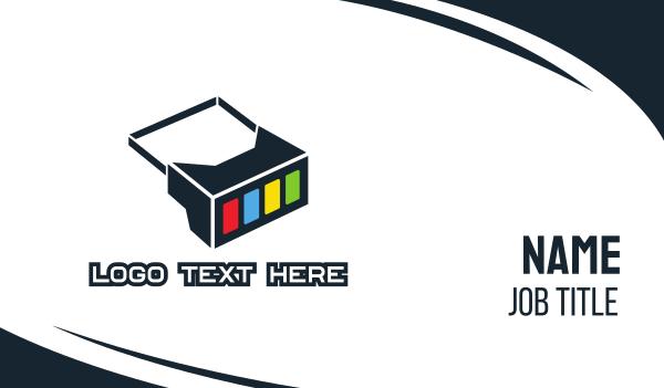 5d - Geometric Box Goggles Business card horizontal design