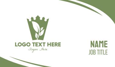 Green Crown Leaf Business Card