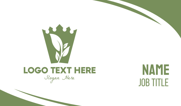classy - Green Crown Leaf Business card horizontal design