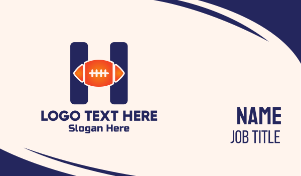 nfl - Blue H Football Business card horizontal design
