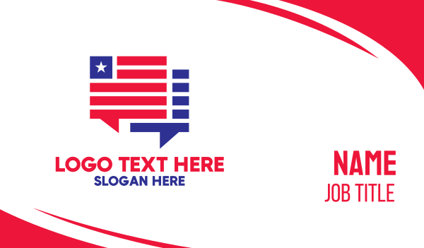 election - Patriotic Chat Boxes Business card horizontal design