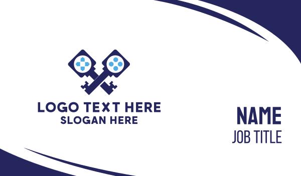 team icon - Blue Key Gaming Business card horizontal design