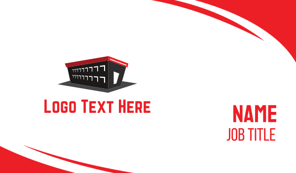red box - Black Warehouse Business card horizontal design