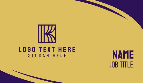 highend - Purple Monogram Letter K Business card horizontal design