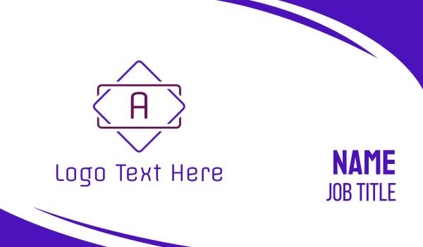 neon light - Neon Purple A Emblem Business card horizontal design