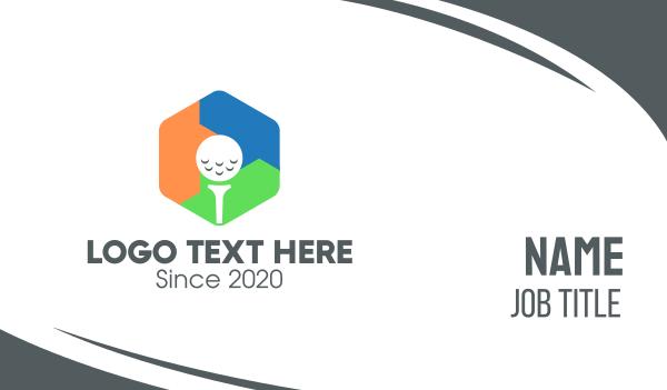 golfing - Multicolor Hexagon Golf Ball Business card horizontal design