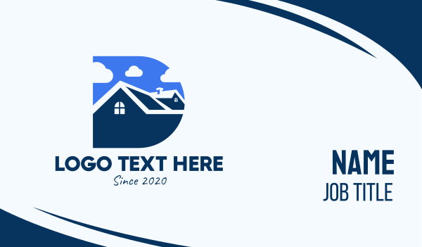 Blue Housing Property Letter D Business Card