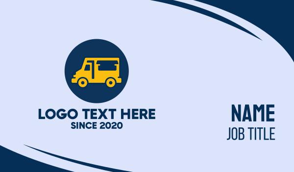 van rental - Cute Yellow Food Truck  Business card horizontal design