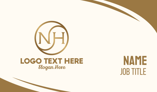 jewelry - Gold Metallic Letter NH Business card horizontal design