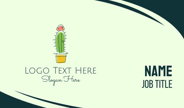 cacti - Minimalist Cactus Flower  Business card horizontal design
