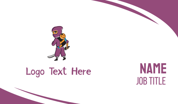 purple boy - Ninja & Kid Business card horizontal design