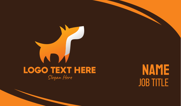 dog trainer - Orange Guard Dog Business card horizontal design