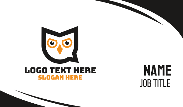 knowlegde - Owl Chat Business card horizontal design