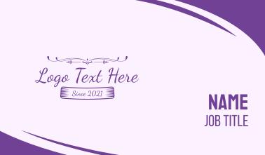 Purple Feminine Text Business Card