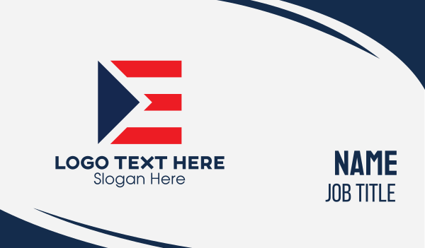 banner - Striped Flag Letter E Business card horizontal design