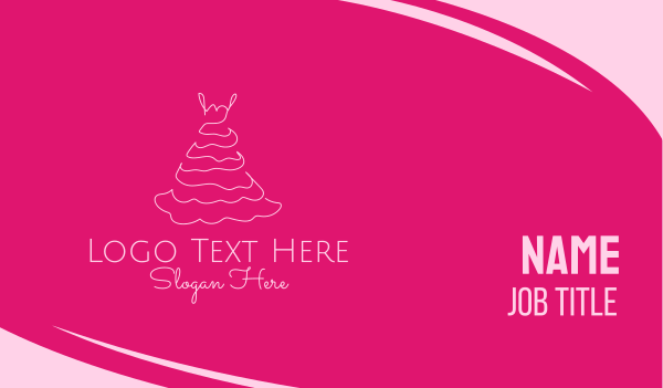prom - Pink Dress Business card horizontal design