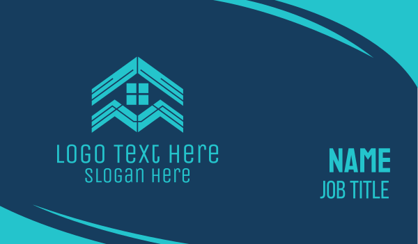 home depot - Blue House Roof Window Business card horizontal design