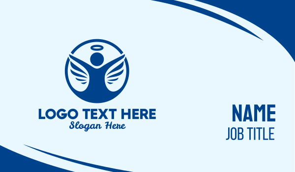 spirituality - Blue Angel Halo Wings  Business card horizontal design