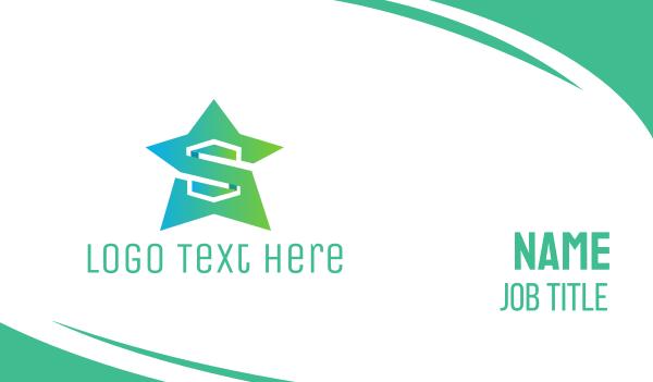 green star - Mint Star  Business card horizontal design