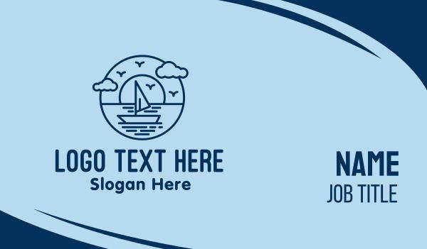 regatta - Sailing Ocean Boat Yacht Business card horizontal design
