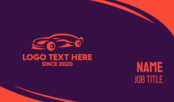 sports-cards - Modern Orange Sports Car  Business card horizontal design
