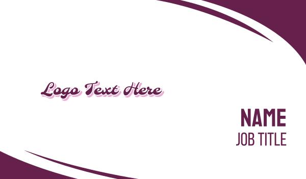 handwriting - Retro Purple Business card horizontal design