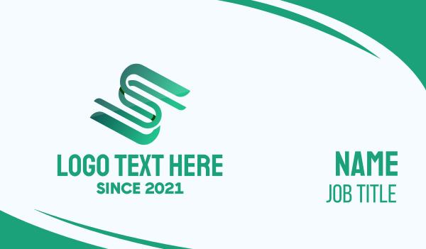 marketing - Green Business Letter S Business card horizontal design