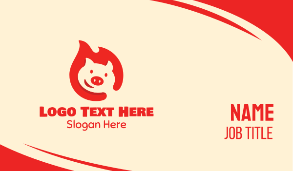 pork restaurant - Happy Hot Pig Business card horizontal design