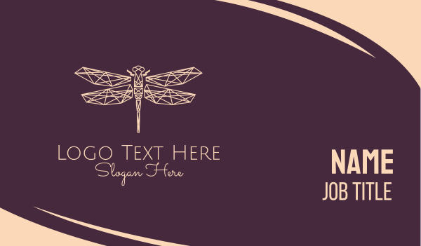 plexus - Geometric Dragonfly Monoline Business card horizontal design