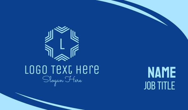 frost - Blue Winter Star Lettermark Business card horizontal design