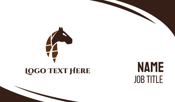 brown horse - Abstract Dark Brown Horse Business card horizontal design