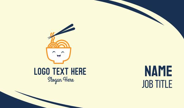 chopstick - Happy Bowl Noodles Business card horizontal design