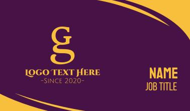 Elegant G & S Monogram Business Card
