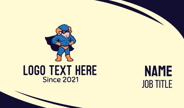 costume party - Ram Superhero Business card horizontal design