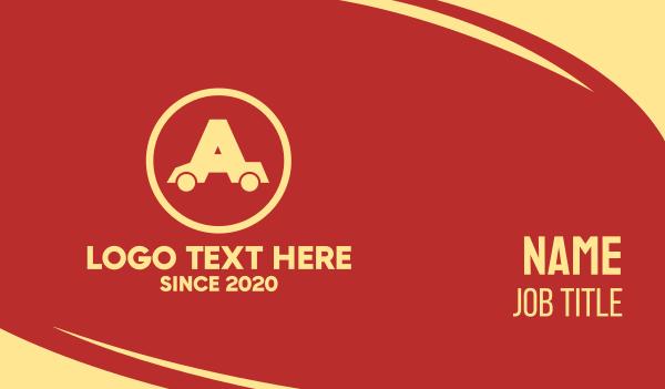carwash - Auto Car Letter A Business card horizontal design