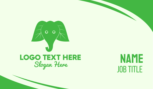 child care - Elephant Ear Leaves Business card horizontal design