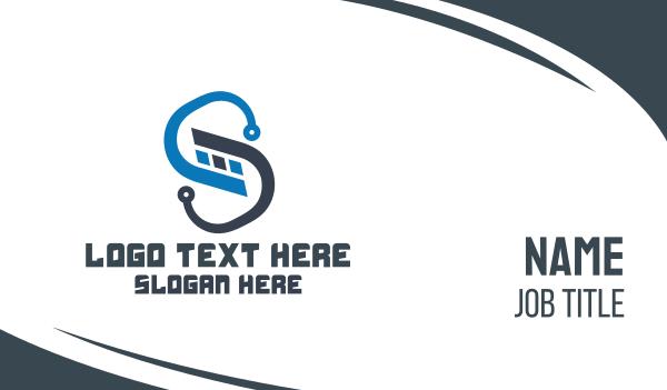 webhosting - Blue Technological Letter S Business card horizontal design