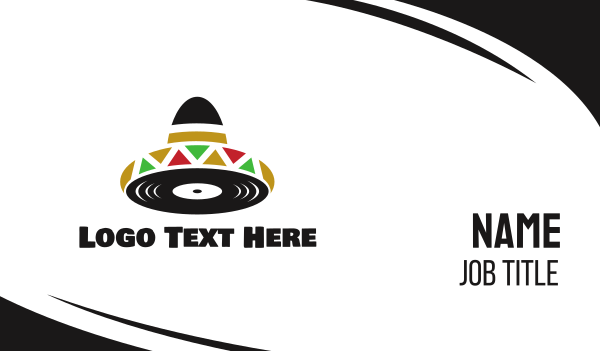 sombrero - Mexican Music Business card horizontal design