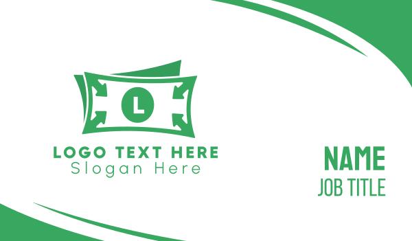 money transfer - Green Money Bill Lettermark Business card horizontal design