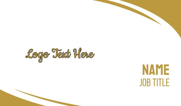 high class - Gold & Sexy Script Font Business card horizontal design