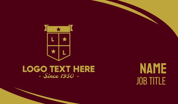 family crest - Golden Club Emblem Shield Business card horizontal design