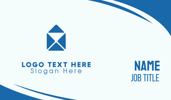 postal service - Blue Mail Envelope Business card horizontal design