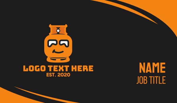 Orange Gas Tank Mascot Business Card
