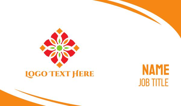 hinduism - Diamond Flower Business card horizontal design
