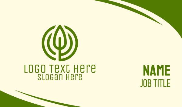 circles - Green Leaf Circle Business card horizontal design