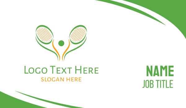 racket - Green Tennis Racket Business card horizontal design