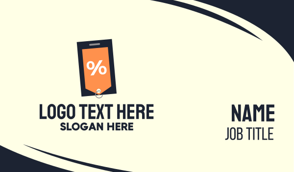 coupon - Mobile Shopping Discount Tag Business card horizontal design