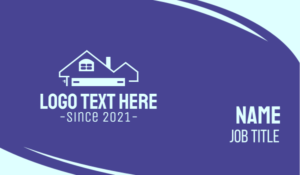 roofing service - Blue Realty House Business card horizontal design